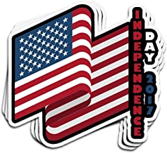 Hanabi 3 Pcs Stickers USA Flag Independence Day 2017 4Th of July 4 × 3 Inch Vinyl Die-Cut Decals for Laptop Window