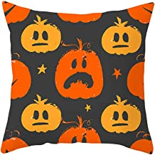 MoonHome Happy Halloween Throw Pillow Case 18 x 18 Inch Pumpkin/Owl/Bat/Witch/Castle Theme Sofa Home Decor Cotton Linen Cushion Cover