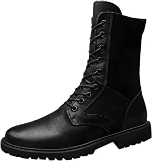Men's British Style Fashion Outdoor Plus Velvet Warm High-Top Leather Shoes Classic Lace-up Hiking Boots
