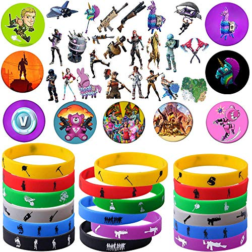 Game Party Supplies, 76 Pack Gaming Gift Set Party Favors - Include 24Pack Game Bracelet, 12 Pack Badge, Set of...