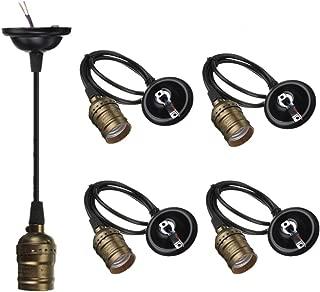 4-Pack Pendant Light Cord, HESSION Industrial Edison Pendant Light Kit, Vintage Style One-Light E26 Lamp Socket, Adjustable Black Wire Mini Pendant Light Fixture (Copper)