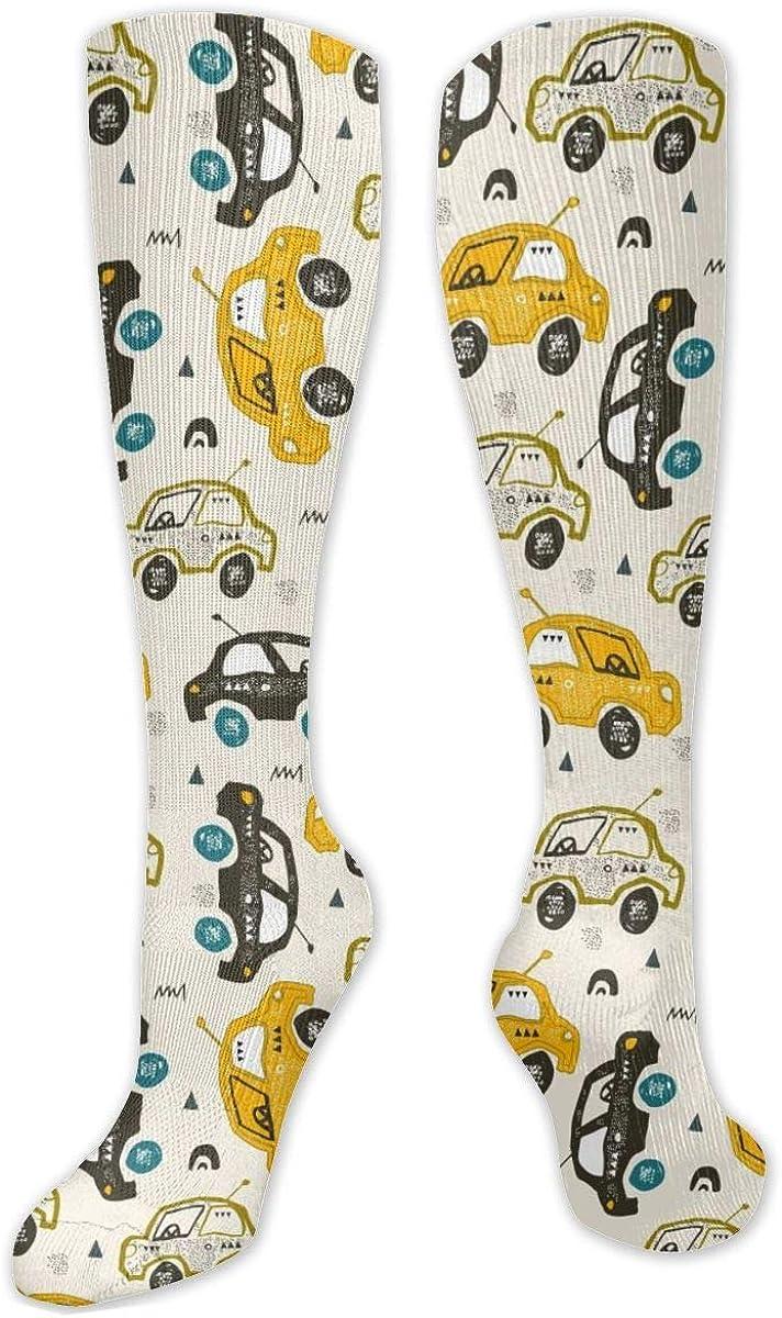 Cartoon Car Pattern Knee High Socks Leg Warmer Dresses Long Boot Stockings For Womens Cosplay Daily Wear