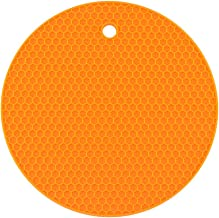 Yardwe Silicone Pot Holders Heat Resistant Non-slip Trivet Mats Hot Pads Multipurpose Trivet For Home Use (Orange)