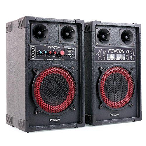 Fenton SPB-8 Coppia Altoparlanti PA attivi / passivi (subwoofer da 8 pollici, 400 Watt di potenza massima, Bluetooth, USB e SD, lettura MP3, bass reflex, 2 ingressi microfono) - Bluetooth - nero