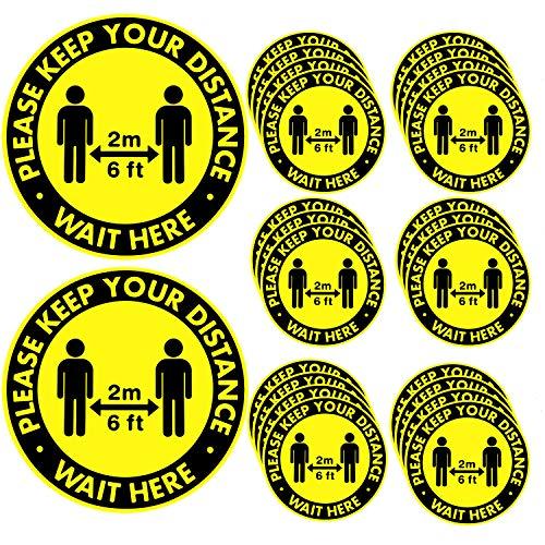 Ruisita 24 Pack Social Distancing Floor Stickers Please Keep Your Distance Sign Waterproof Distancing Sign Decals