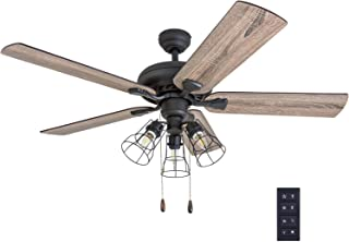 """Prominence Home 50745-01 Lincoln Woods Farmhouse Ceiling Fan (3 Speed Remote), 52"""",.."""