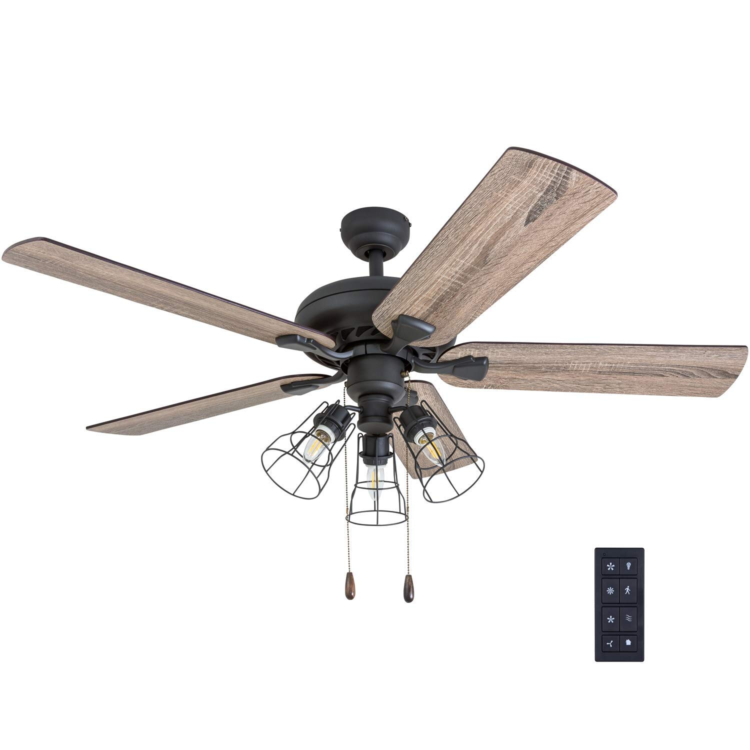 Prominence Home 50745 01 Lincoln Woods Farmhouse Ceiling Fan 3 Speed Remote 52 Barnwood Tumbleweed Aged Bronze Amazon Com