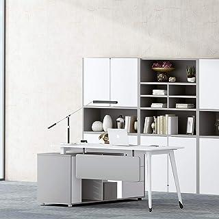 مكتب كمبيوتر أمامي جديد، طاولة مكتب، طاولة تنفيذية للعمل أو الدراسة، أثاث مكتب منزلي أبيض ورمادي (1600x1600x750)