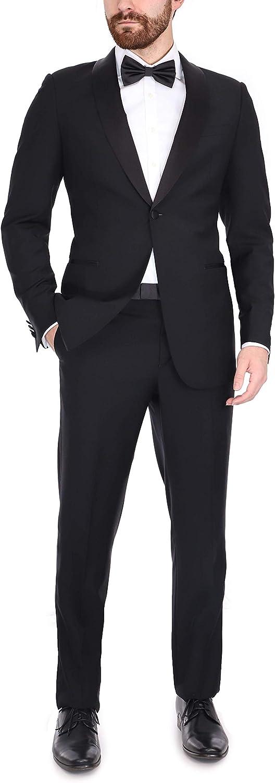 B. Jacket Men's Black Italian Wool Canvassed Slim Fit Shawl Lapel Tuxedo Suit