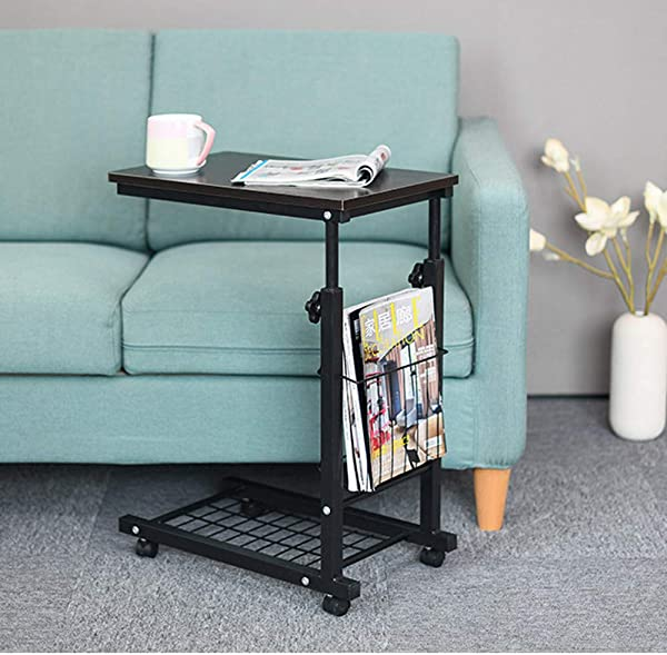 Household Height Adjustable Desk Sofa Side Table Wheel Mobile Foldable Computer Desk With Storage Basket For Home Black