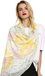 StylesILove Spring Summer Floral Print Lightweight Cotton Scarf Wrap Shawl for Women