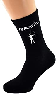 I'd Rather be Doing Archery with Archer Bow and Arrow Design Mens Black Cotton Rich Socks