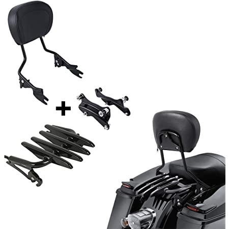 XFMT Chrome Detachables Backrest Sissy Bar Upright w// 2 Up Air Wing Luggage Rack 4 Point Docking Hardware Kits Compatible with Harley Touring 2014-2019