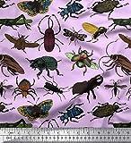 Soimoi Lila Samt Stoff Käfer & Honigbiene Insekten Drucken