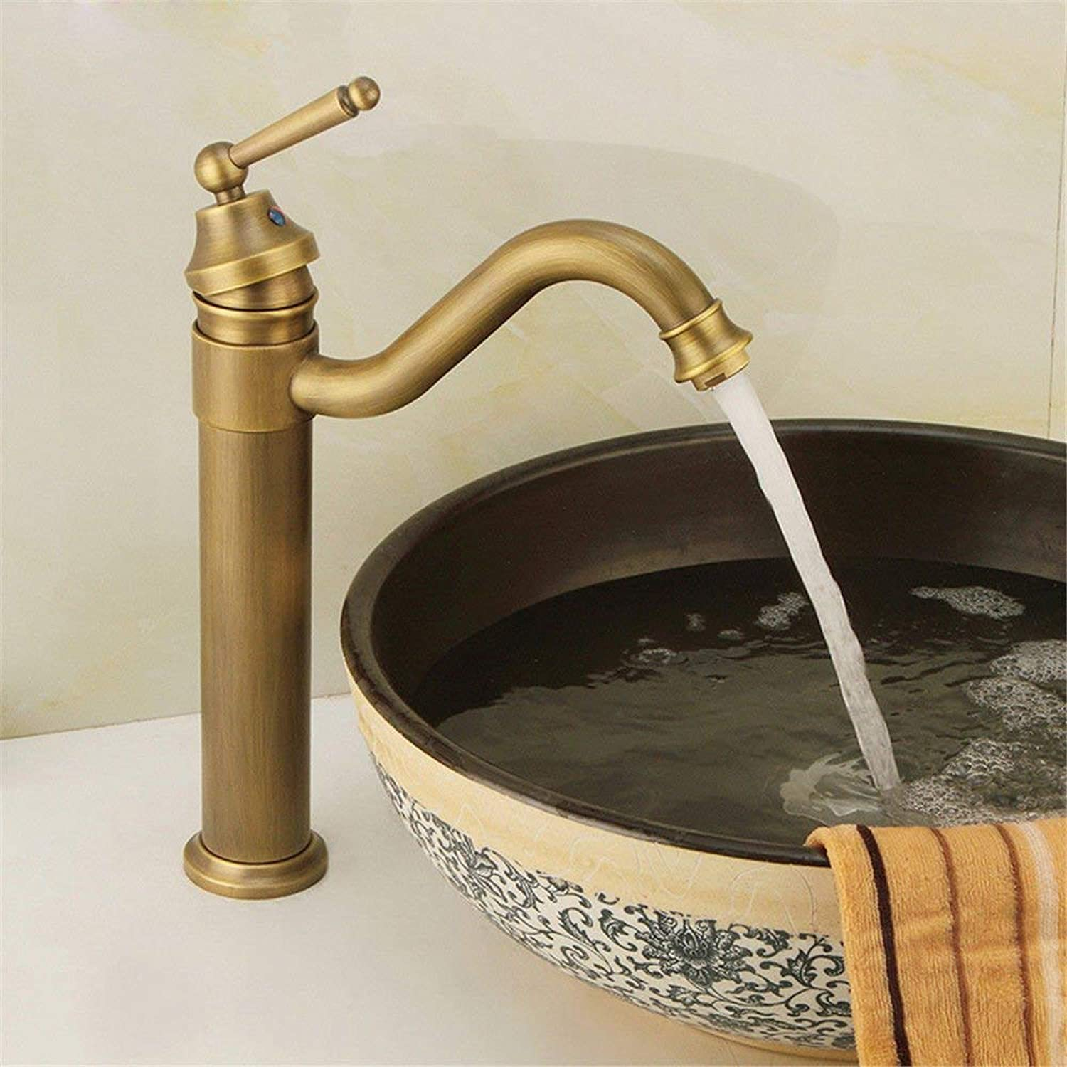 WMING HOME Sink Mixer Tap Bathroom Kitchen Basin Water Tap Leakproof Save Water Modern All-Copper Antique Hot And Cold Water Taps Plus High Single Hole Sink Basin Mixer B (color   A)