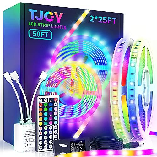 LED Strip Lights with 44 Key Remote 50 ft, Multi-Color RGB SMD5050 LED Lights ,12 Volt Color Changing LED Light Strip for Bedroom,Room, TV,DIY Decor(44 Key Remote Control +25ft x2+Indoor only)