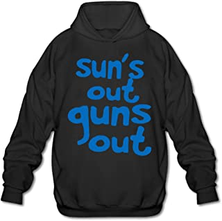 OOONG Men's Sun's Out Guns Out Hooded Sweatshirt Black