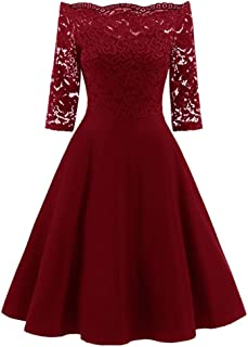 Overdose Women's Vintage 1950s Off Shoulder Cocktail Dress Retro Lace Swing Pinup Rockabilly Dress Evening Party Dresses