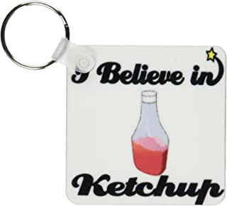 3dRose I Believe in Ketchup Key Chains, Set of 2 (kc_105218_1)