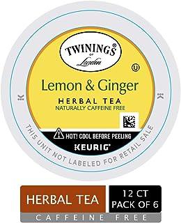 Twinings of London Lemon & Ginger Herbal Tea K-Cups for Keurig, 12 Count (Pack of 6)