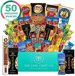 The Care Crate Man Box Ultimate Men's Snack Box Care Package ( 50 piece Snack Pack ) Chips Variety Pack, Pretzels, Jerky, Nuts