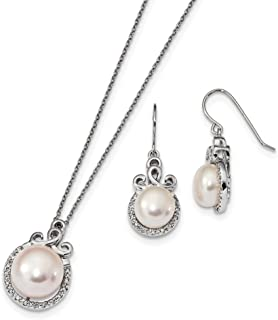 Sterling Silver Rh 9-13mm Freshwater Cultured Pearl Cubic Zirconia Earrings and Necklace Set