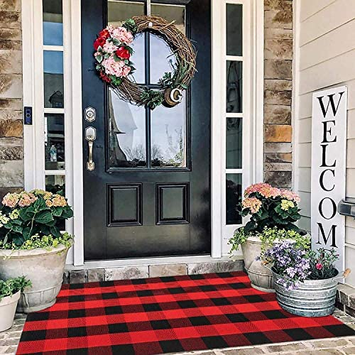 Red Buffalo Plaid Rug Outdoor 3 x 5 Red Cotton Hand Woven Checkered Door Mat Reversible Foldable product image