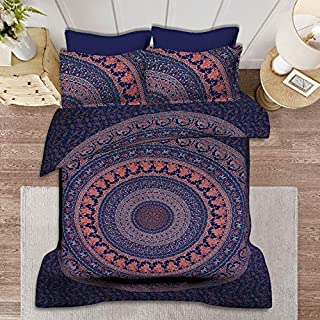 SHIRANYA 100% Cotton Navy Blue Mandala Duvet Cover Set Queen 3 Piece Indian Ethnic Reversible Bohemian Floral Design Bedsp...