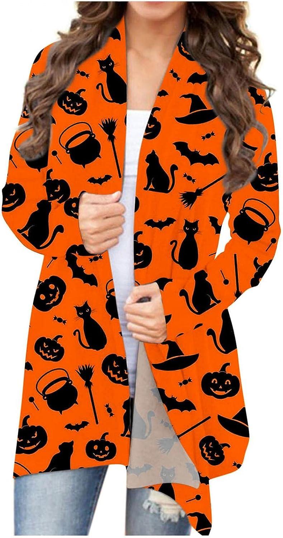 Sweaters for Women Cardigan Open Front Lightweight Halloween Skull Pumpkin Cat Cardigans Sweatshirts Loose Fit Coat Tops