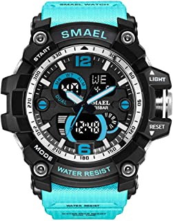 RONSHIN Gifts for Boys, SMAEL Men Multifunction Quartz Dual Display Alarm Clock Stopwatch Noctilucence Electronic Watch (with Box)