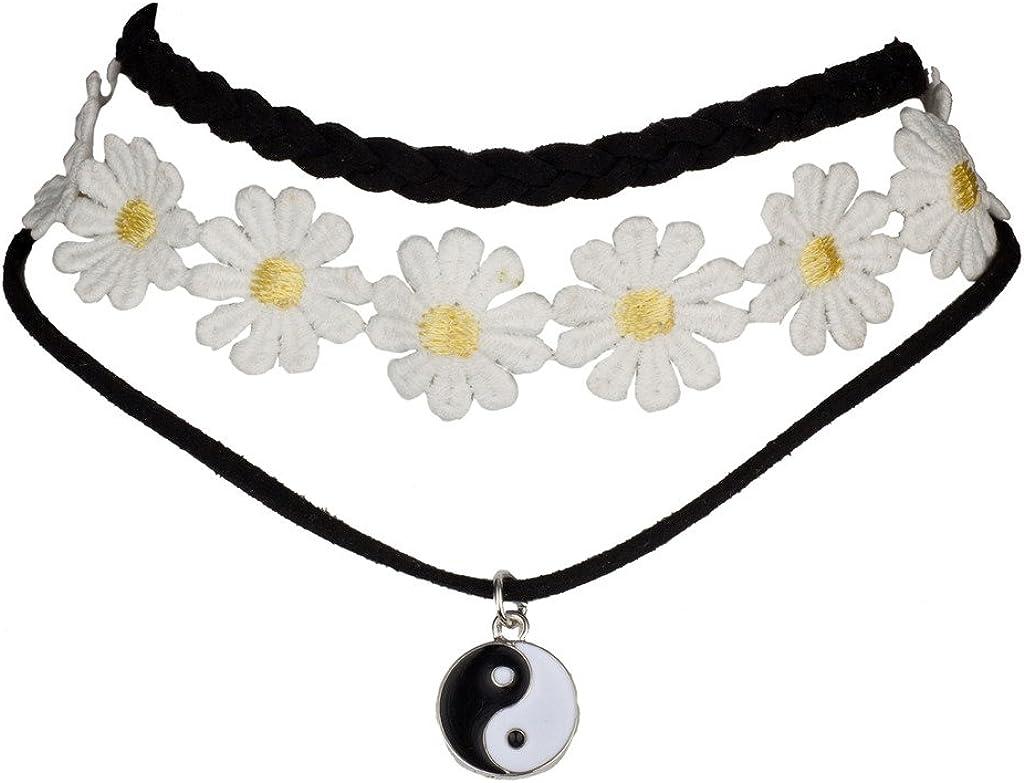 Lux Accessories Womens Black Choker Collar Necklace 3Pc Set