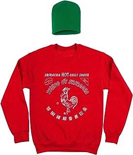 Sriracha Hot Chili Sauce Bottle Costume Outfit with Hat Mens Sweatshirt