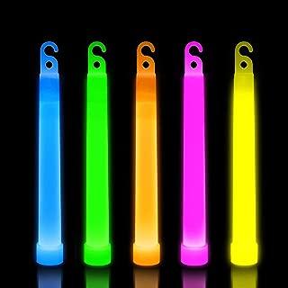 Lumistick 6 Inch Premium Glow Sticks | 15mm Thick Flat Bottom Illuminating Glowing Sticks | Waterproof & Non-Toxic Light Up Neon Sticks with Hook for Camping & Hiking (Assorted, 50 Glow Sticks)