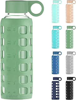 purifyou Premium 32 / 22 / 12 oz Glass Water Bottles with Non-Slip Time and Volume Markings Silicone Sleeve & Stainless St...