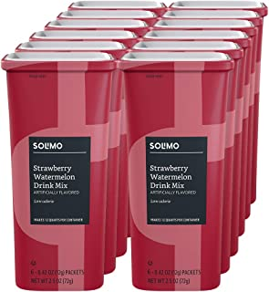 Amazon Brand - Solimo Strawberry Watermelon Drink Mix, (12 count) - 72 total packets