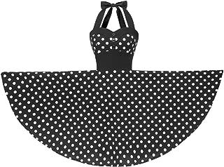 Shirt Collar Halterneck Polka Dot Floral 50s Style Vintage Retro Rockabilly Swing Dress 100% Cotton