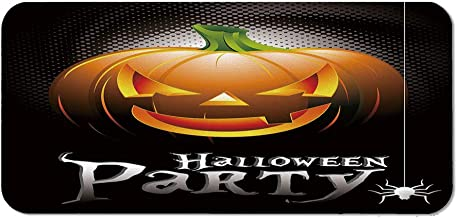 Halloween Natural Rubber Pad,Halloween Party Theme Scary Pumpkin on Abstract Modern Backdrop Spider Decorative for Office &Hone Computers,15.75''Wx23.62''Lx0.08''H