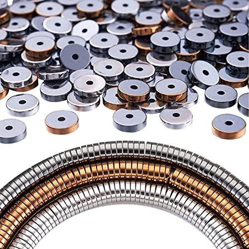 Beadthoven, 3 hebras, electrochapa, no magnética, cuentas de hematita sintética, planas y redondas, espaciador de cuentas de Heishi para collar de bricolaje, pulsera, manualidades, agujero: 1 mm