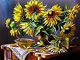Girasol bordado de diamantes flor 5D DIY Kit de manualidades decoración del hogar bordado a mano pintura de diamantes A9 60x80cm