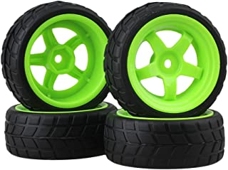 BQLZR Black and Green RC 1: 10 On-Road Racing Car Plastic Wheel Rims&Rubber Tires Pack of 4