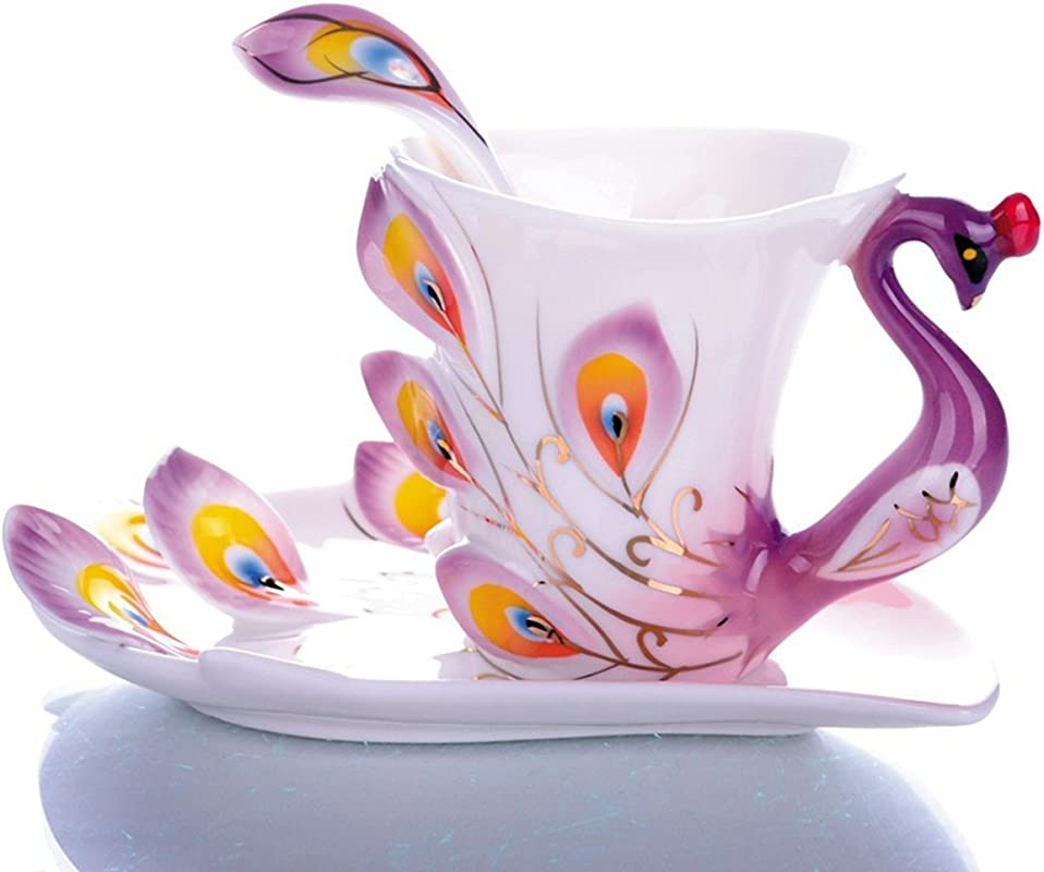 Emoyi Porcelain Tea Cup And Saucer Coffee Cup Mug Peacock Theme Creative Present Purple