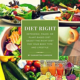 Diet Right      Ketogenic, Paleo, or Plant-Based Diet - Select the Right Diet for Your Body Type and Lifestyle              By:                                                                                                                                 Samantha Samson                               Narrated by:                                                                                                                                 Brooke Pillifant                      Length: 5 hrs and 10 mins     9 ratings     Overall 5.0