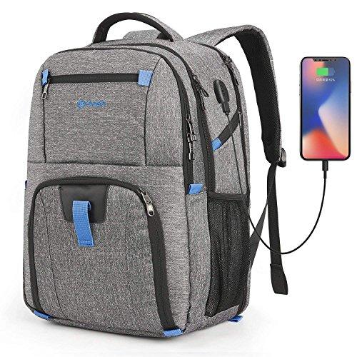 CoolBELL 17,3 Zoll Laptop Rucksack wasserdicht Schulrucksack Reise Rucksack/Business Backpack/Schützende Tagestasche für Damen/Herren(Grau)