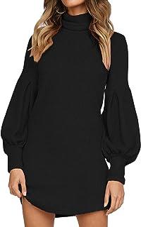 Auxo Vestido a Punto Cuello Alto Suéter Larga Elegante Clásico para Mujer Jerséy para Otoño Invierno Fiesta Cóctel Noche F...