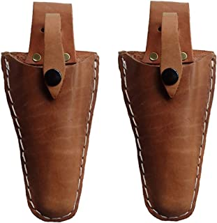 SYOOY 2 PCS Leather Pruner Holster Hanging Pouch with Safety Lock for Pliers Pruner (Pruner not Included)