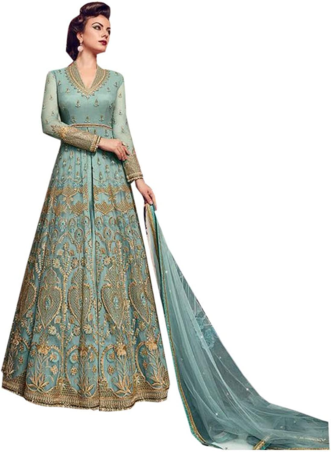 Designer Heavy Anarkali Salwar Kameez Suit Split Gown Long Dress Indian Ethnic Wear 7142