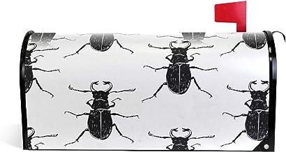 Naadloos monochroom patroon met insecten magnetische brievenbus cover tuin woondecoratie oversized 25,5 x 18 inch