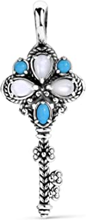 Sterling Silver Sleeping Beauty Turquoise & Mother of Pearl Key Enhancer Pendant