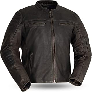 First MFG Co. - Commuter - Men's Motorcycle Leather Jacket (Brown, Large)