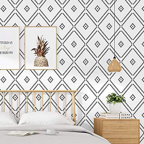 Papel pintado pared Nordic Rombo Negro Blanco Decoración de la pared papeles a casa a prueba de agua geométrica fondo de pantalla for el dormitorio de la sala (Color : HB007 502, Size : 9.5mx53cm)